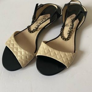 CHANEL Quilted Flat Sandals 38.5